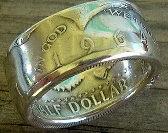 Handcrafted 1964 Kennedy Half Dollar Coin Ring (90% Silver) (Available in sizes 8 through 10)