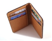 Baseball Glove Leather Slim Wallet in Camel {Hand Stitched}