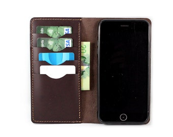 Hand stitched Wallet for Nexus / Galaxy Note / Galaxy / LG g4 / HTC1 in Dark Brown BOX Leather (Free Personalization)