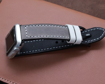 Hand Stitched Apple Watch Band in WARM GREY with white stitching