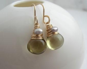 Olive Quartz Drop Earrings