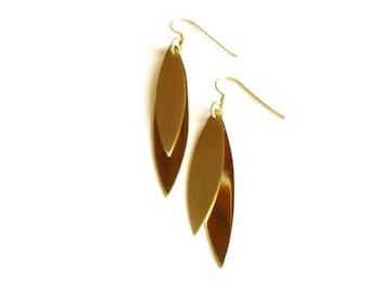 Gold Leaf Earrings-Brass Leaf Earrings-Modern Dangle Earrings-Brass Dangle Earirngs-Gold Geometric Drop Earrings-Handcrafted Modern Jewelry