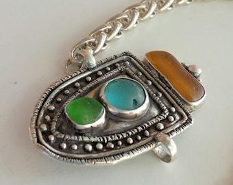 Sea Glass Sterling Silver Link Bracelet, Beach Glass Bracelet, Link Bracelet, Handmade, Sterling Silver Bracelet