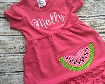 pretty sweet watermelon appliqué dress
