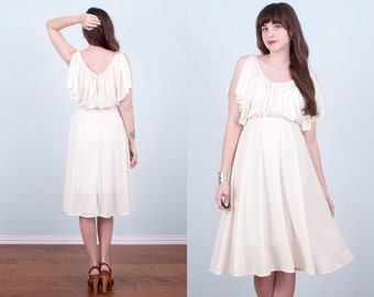 70's White Dress Young Edwardian Butterfly Sleeve Boho Hippie Wedding Ivory / Small
