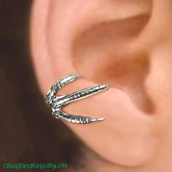 talon claw ear cuff sterling silver earrings claw jewelry claw. Black Bedroom Furniture Sets. Home Design Ideas