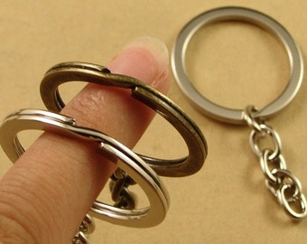 100PCS Round Key Chain with Split Ring Wholesale, White gold plated/ Bronze - HA3332
