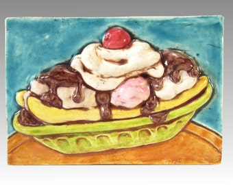 Banana Split Sundae Ceramic Art Tile, 4 x 6 Handmade Tile, Kitchen Wall Art, Ice Cream Soda Fountain