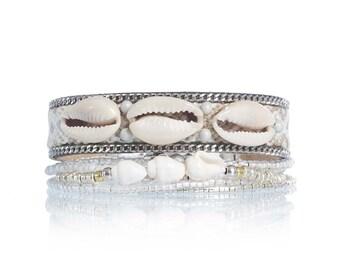 Multiple strands beaded bracelet with cowrie shell - multistrand friendship bracelet set - glass bead bracelet - bohemian beach jewelry
