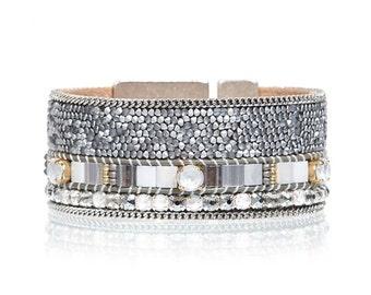 Swarovski crystal fine rocks statement cuff bracelet - wide cuff bracelet - crystal bracelet - rhinestone bracelet - statement jewelry