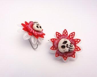 DOD flowers with skull earrings by Marie Segal
