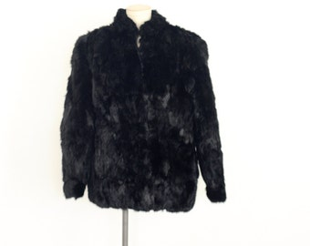 Vintage 80's Black Rabbit Fur Coat with Side Pockets