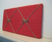 Red Pin board made from Burlap and twine with two bows for your dorm room or office, display holiday cards or photos, Canadiana decor