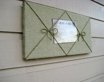 Dorm Decor for students, Bulletin Board made from sage green Burlap and twine with two bows, custom options available