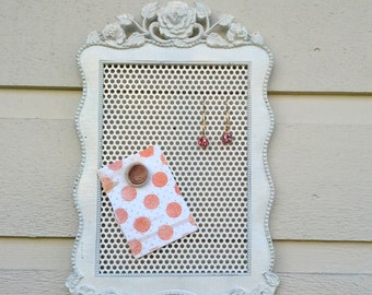 Earring Holder, White painted metal vintage frame with a lovely rose and leaf top detail and feet, magnetic display for earrings and photos