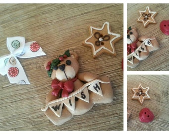 """Handmade country buttons """"Teddy Bear"""" - polymer clay buttons."""