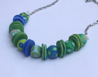 Green and blue beads necklace, polymer clay, millefiori