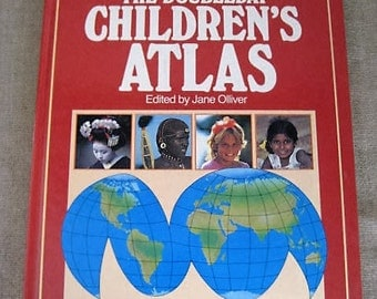 Vintage Doubleday Children's Atlas / 1987 Children's Atlas with Full Color Maps and Pictures / Vintage Educational Book