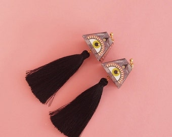 """SALE Eye Earrings // Geometric Earrings // Tassel Earrings // Statement Earrings // Geometric Jewelry // The """"Expansions"""""""