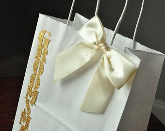 Groomsmen Gift Bags.  Handcrafted in 2-3 Business Days.  Large White Paper Bags with Handle.  Groomsmen Gift Ideas.