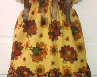 Pillowcase Dress & Pants Set Turkey Fall Farm Thanksgiving Boutique 12/18M 24M/2T 3T/4T 5/6 Pageant