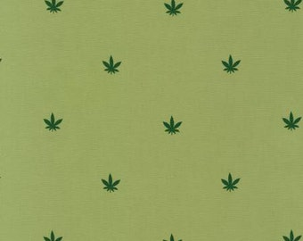 Robert Kaufman Green Mini Cannabis Pimatex Fabric 1 yard