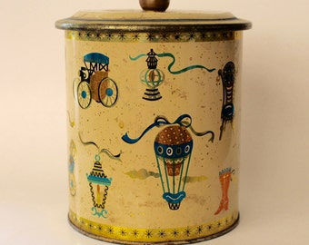 Vintage Canister with Hot Air Balloons and Cars! Cute!