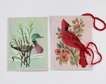 Vintage 1950s Bird Picture Sewing Practice Cards!