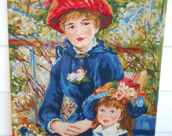 Large Vintage 1940's Needlepoint Tapestry Auguste Renoir Two Sisters (On The Terrace) Free Shipping