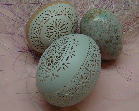 Carved Victorian Lace Duck Egg And By Thenestatwindycorner