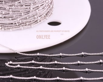 5yd-2mm(Ball)X0.8mmBright Rhodium plated Brass Ball Chain For necklace chain, link chains (N140S)