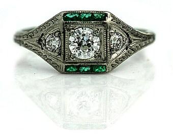 Art Deco Emerald Ring Antique Synthetic .70ctw Emerald Ring Platinum Vintage Diamond Ring 1930s European Cut Ring Gemstone Ring Size 5.5!