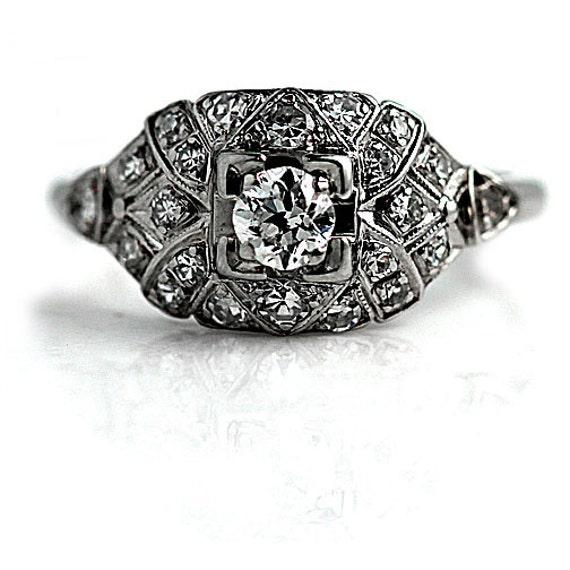 antique engagement ring edwardian ring art deco ring platinum