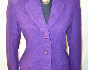 Vintage Missoni Donna Plum Wool Skirt Suit Sz 6 ITALY