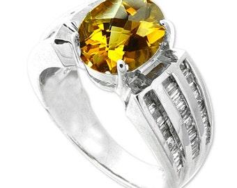 citrine diamond ring 14k white gold