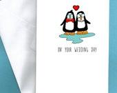 Penguin wedding card, Irish wedding card,funny wedding card, funny wedding cards, gaelic wedding card