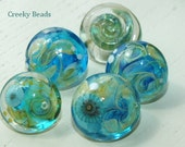 Handmade Lampwork Shank Buttons - Turquoise Mix - Creeky Beads - SRA