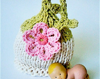Newborn Girl flower hat Knit Baby Hat Girl Photo Prop Newborn hat Baby girl hat Photo prop Spring