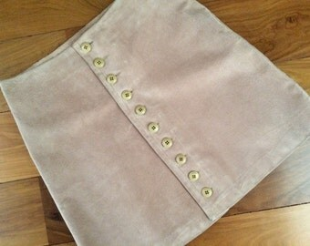 Suede Leather Front Button Skirt -  Cool