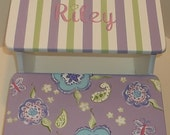Custom Steps & Stools Purple Paisley Lavender  STEP STOOL Bathroom Bench Kids Baby  Decor