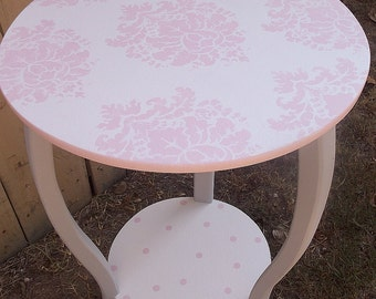 Table Nursery, Damask, Pink White, Tables, Nursery,Kids & Baby Round Table, Night Stand Pink Grey  Furniture  Childrens