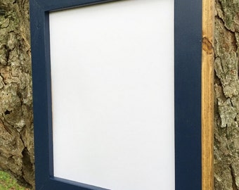 8 x 10 Wooden Picture Frame, Navy Blue Solid Style With Routed Edges, Home Decor, Rustic Home Decor, Rustic Frames, Rustic Wood Frames