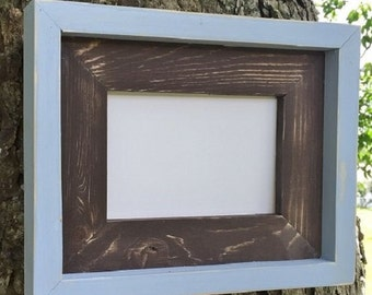 11 x 14 Brown and Light Blue, Weathered, Stacked and Painted Frame, Two Colors Picture Frame, Home Decor, Rustic Wood Frame, Wood Frames