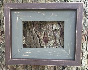 4 x 6 Olive Green and Brown, Weathered, Stacked and Painted Frame, Rustic Home Decor, Rustic Frames, Wooden Frames, Rustic Home Decor