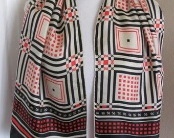 "ECHO Beautiful White Red Black Silk Scarf - 15"" x 44"" Long"