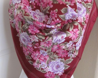 """Amazing Dark Pink Floral Silk Scarf  // 31"""" Inch 79cm Square // Best of the Best"""