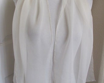 "Lovely Solid White Sheer Silk Chiffon Scarf - 16"" x 50"" Long"