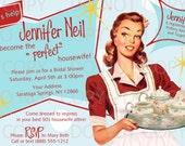 Printable DIY Retro Housewife Theme Bridal Shower Tea Party Invitation
