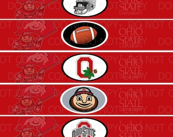 Printable DIY College Football Theme Water Bottle Labels  INSTANT DOWNLOAD