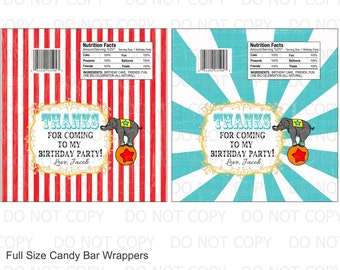 Printable DIY Circus Birthday Full Size Candy Bar Wrappers - 2 designs personalized